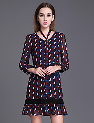 Women's Casual/Daily Simple Loose Dress,Geometric Round Neck Above Knee Long Sleeve Others All Seasons Low Rise Inelastic Thin