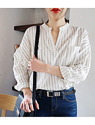 Korean wild casual stripe loose V-neck shirt pocket