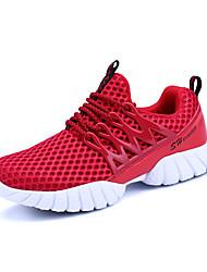 Da donna-Sneakers-Tempo libero Casual Sportivo-Comoda pattini delle coppie-Piatto-Tulle-Nero Fucsia Rosso