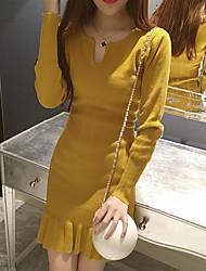 2017 new V-neck waist was thin wild bottoming skirt fishtail skirt autumn female long-sleeved knit dress