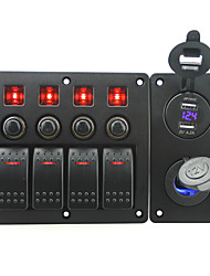 IZTOSS red led DC12/24V 4 Gang on-off rocker switch curved panel and circuit breaker with label stickers and blue led cigarettel power socket and 4.2A