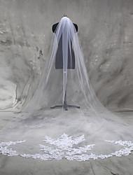 Véus de Noiva Uma Camada Véu Catedral Borda com aplicação de Renda Tule