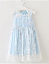 Girl's Beach Solid Dress,Cotton Summer ½ Length Sleeve