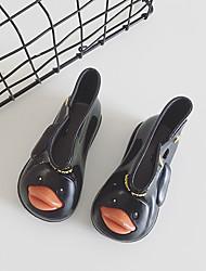 Girls' Boots Spring Summer Slingback PU Casual Chunky Heel Black