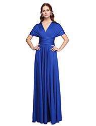 LAN TING BRIDE Floor-length One Shoulder Strapless V-neck Bridesmaid Dress - Convertible Dress Sleeveless Jersey
