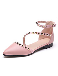 Women's Sandals Club Shoes PU Spring Summer Casual Dress Club Shoes Rivet Buckle Flat Heel White Black Blushing Pink Flat