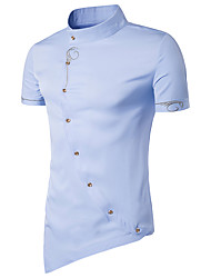 Для мужчин На выход На каждый день Праздник Рубашка Воротник-стойка,Секси Винтаж Простое Однотонный С короткими рукавами,Хлопок Полиэстер