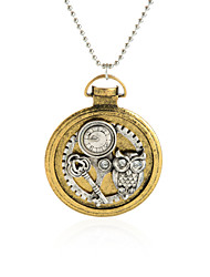 Vintage Round Pendant Necklace Gear Charm Steampunk Necklaces-Owl Key
