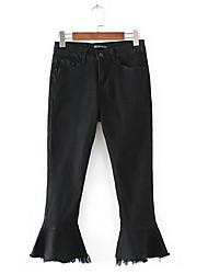 Women's Mid Rise Micro-elastic Jeans Pants,Vintage Bootcut Tassel Solid