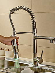 Contemporain Pull-out / Pull-down Set de centre large spary Avec spray démontable with  Soupape céramique Mitigeur un trou for  Nickel