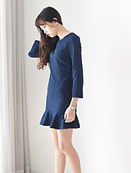 Sign spring Korean Slim vertical striped dress long section was thin fishtail skirt flounced swing bottoming