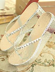 Damen-Sandalen-Lässig-PU-Keilabsatz-Fersenriemen-Gold Silber