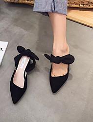 Primavera 2017 versão coreana de calçados de chinelos baotou meia apontou plana com plano casual laço sapatos preguiçosos