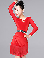 Latin Dance Dresses Kid's Performance Velvet Tassel(s) 2 Pieces Long Sleeve Dress Waist Belt
