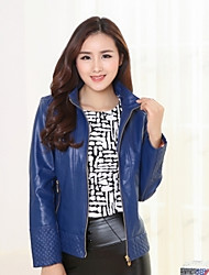 Women's Going out Casual/Daily Simple Spring Fall Leather Jacket,Solid Stand Long Sleeve Short PU