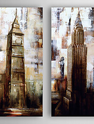 Hand-Painted  Abstract Buildings Set of 2 Canvas Oil Painting With Stretcher For Home Decoration Ready to Hang