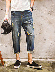 2017 spring and summer men's pantyhose Japanese youth jeans straight hole harem pants tide