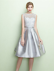 Tea-length Jersey Lace-up Bridesmaid Dress - A-line Jewel with Lace Sash / Ribbon