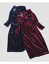 Feminino Bainha Vestido,Para Noite Festa/Coquetel Sólido Colarinho Chinês Acima do Joelho Meia Manga Elastano Primavera OutonoCintura