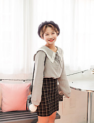 Snow Sign new wild plaid skirt Korean version was lanky waist A-line skirts