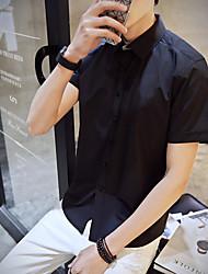 Masculino Camisa Social Para Noite SimplesSólido Algodão Colarinho Chinês Manga Curta