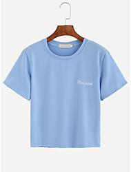 Le t-shirt en coton de style européen et américain 2016 était mince, sauvage, féminin, shi, court, t-shirt, brodé, lettres, t