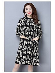 Women's Going out Loose Dress,Floral Crew Neck Midi ¾ Sleeve Silk Spring Mid Rise Micro-elastic Thin