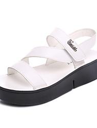 Women's Sandals Spring Summer Comfort PU Casual Flat Heel Hook & Loop