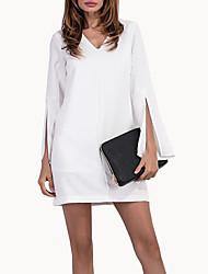 Signer le moule extérieur nouveau commerce enroulé manches courtes v-cou slim dress lady jupe open spot