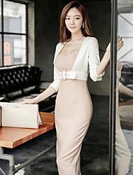 2017 новый корейский тонкий сексуальный заклинание цвет рукав поддельные из двух частей хип пакет платье женский темперамент