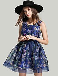 Знак органзы лето новый полоска 3D печати талии было тонкое платье кружева