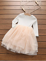 Girl's Holiday Solid Striped Dress,Cotton Spring ¾ Sleeve