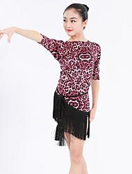 Latin Dance Dresses Kid's Performance Spandex Polyester Animal Print Sash/Ribbon Pattern/Print 1 Piece Half Sleeve Natural Dress