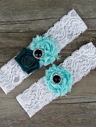 2pcs/set Dark Green And Light Blue Satin Lace Chiffon Beading Wedding Garter