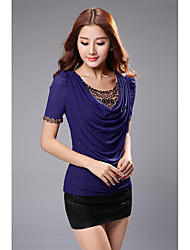 Été nouvelles femmes&Chemise à manches courtes version coréenne du pate de perles chauds leopard collier loose big yards filet t-shirt