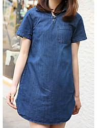 Sign 2017 spring new Women Korean Fan art big yards long thin short-sleeved denim dress