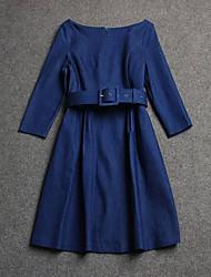 Patineuse Robe Femme Décontracté / QuotidienCouleur Pleine Bateau Mi-long Manches Longues Coton Printemps Eté Taille Normale