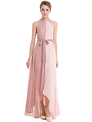 SUOQI Fashion Wild Hanging Neck Sleeveless Fight Color Split The Fork Chiffon Long Skirt Party Cocktail Party Beach Holiday Leisure Dress