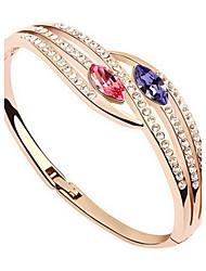 Mulheres Bracelete Jóias Amizade Moda Cristal Liga Forma Geométrica Roxo Claro Vermelho Verde Azul Jóias Para Aniversário 1peça