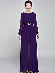 estilo real irmã balanço grande esfregar vestido de chiffon com babados chiffon vestido de cintura
