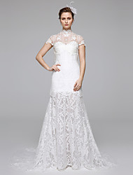 Mermaid / Trumpet Illusion Neckline Sweep / Brush Train Lace Wedding Dress with Lace Draped by LAN TING BRIDE®
