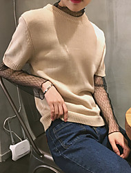 Sign new spring and summer short paragraph Slim was thin short-sleeved round neck thin section sleeve knit female scalp