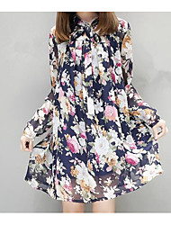 Women's Going out Casual/Daily Cute Blouse,Floral Crew Neck Long Sleeve Polyester