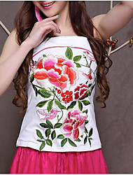 Women's Vintage Chinoiserie Summer Tank Top,Solid Floral Jacquard Halter Sleeveless Cotton Thin
