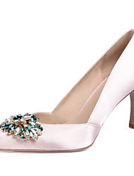Women's Heels Spring Fall Club Shoes Silk Wedding Office & Career Party & Evening Dress Stiletto Heel Rhinestone Crystal