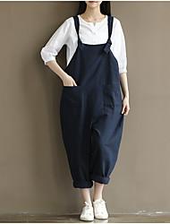 Trouver des femmes de grande taille&# Réplique rétros de ceinture en coton brossé bleu pantalons décontractés féminin