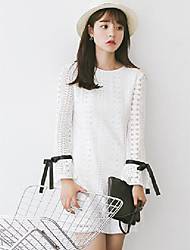 2017 new spring sweet temperament openwork lace long-sleeved shirt dress white lace skirt