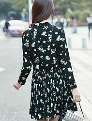 Sign dress female 2017 spring new Korean long-sleeved floral chiffon pleated skirt waist was thin temperament