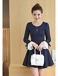 2017 spring new Women Korean version of cultivating long-sleeved dress bow long section bottoming Mianjin