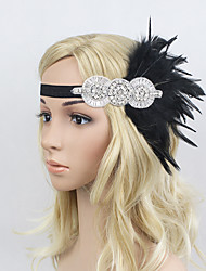 Women's Feather/Beads Rhinestone Elasticity Headpiece-Special Occasion/Party Flowers 1 Piece Headdress Hair Band Hair Accessories Black